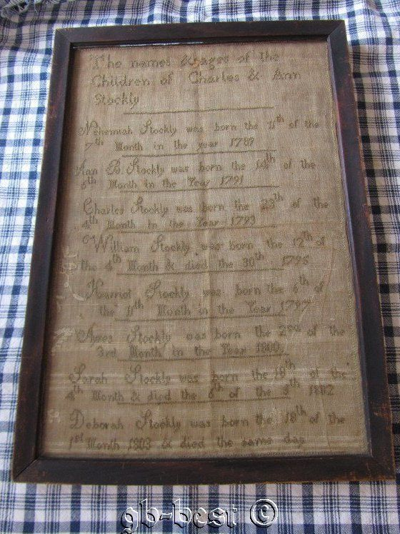Important Primitive 1789-1803 Sampler Names of Charles & Ann Stockly Children