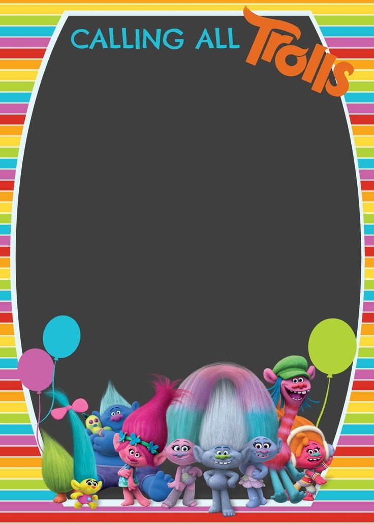 FREE Trolls Digital Invitation | How to make with PicMonkey, template included | Cakecrusadersblog.com