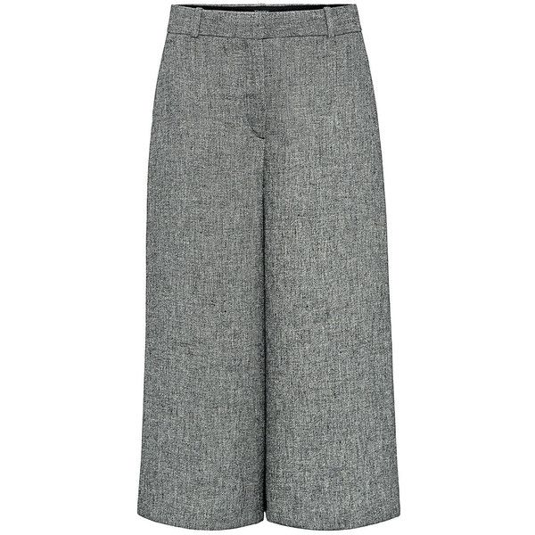 Theory - HALIENTRA  Linen Crepe Culottes (185 CAD) ❤ liked on Polyvore featuring pants, capris, tailored trousers, theory pants, linen trousers, draped pants and leather belt