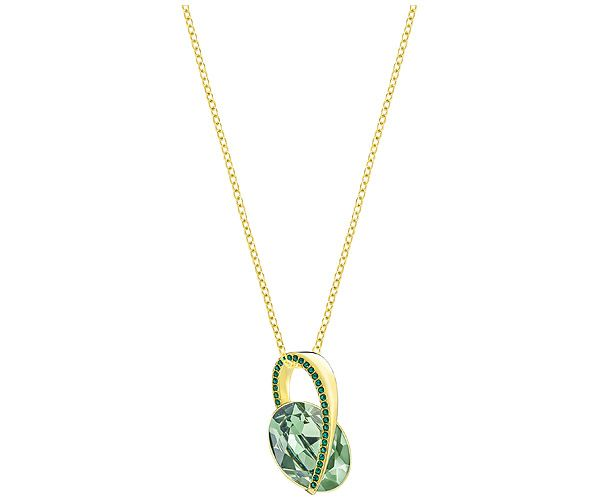 Add a flash of color this summer with this glamorous pendant. With an on-trend blend of green crystal shades and gold plating, it is refined and modern. Perfect for adding sparkle to any style, the pendant comes with a chain.
