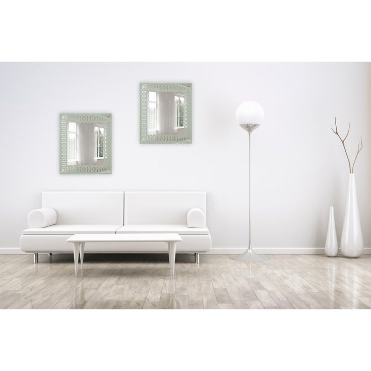 24 in. x 28 in. Frameless Mirror in Silk Screened Light Sage Green Pattern Embedded Border