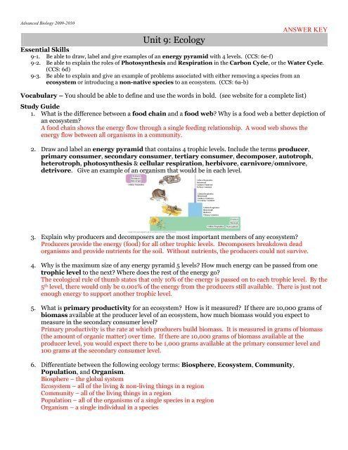 Populations and Communities Worksheet Answers Answer Key ...