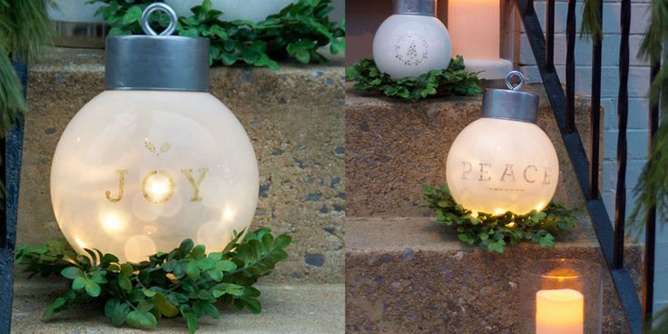 Bigger ornaments mean happier holidays, right? How to make ornaments with globe lights, a tuna can and a eye ring