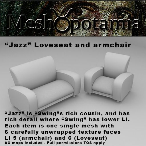 "Meshopotamia Art Deco ""Jazz"" Loveseat and Armchair"
