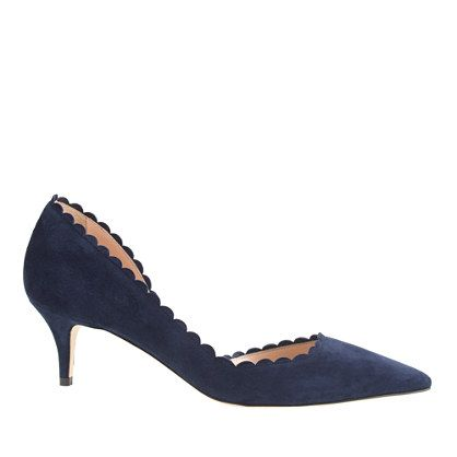 J.Crew - Dulci scalloped suede kitten heels | Beautiful scalloped edging in a gorgeous deep blue color.