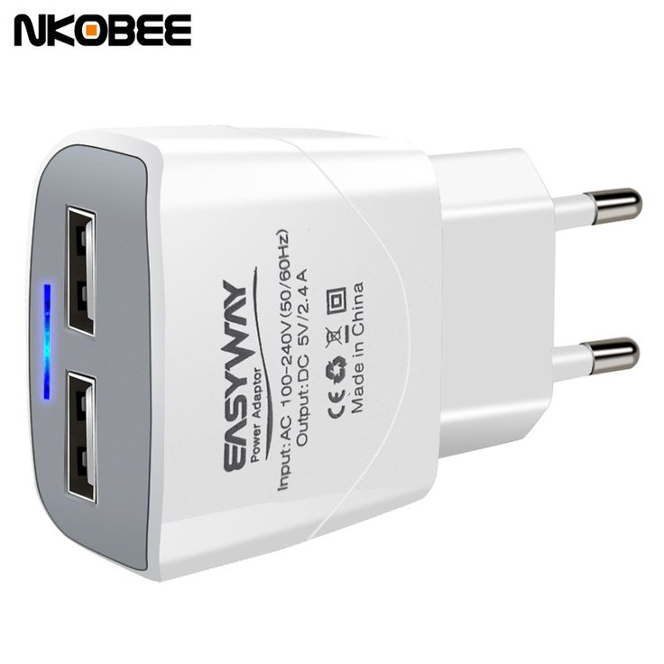 NKOBEE 5V2.4A LED 2 Port USB Charger Universal Travel Usb Adapter Portable EU Phone Smart Charger for iPhone for samsung xiaomi