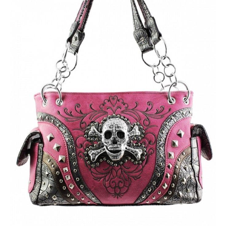 Handbags, Bling & More! Pink Skull Studded Conceal and Carry Purse : Conceal and Carry Purses