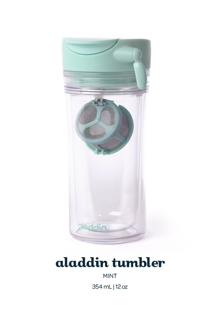Aladdin Tumbler - Mint. With its swing-down infuser, this ingenius mug makes it easy to stop steeping on the go.