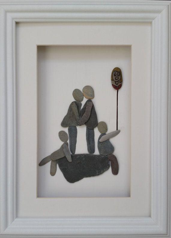 Pebble Family Portrait. Pebble Art, Sea Glass Art.