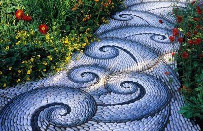 gpth.414 pebble mosaic path blue swirl