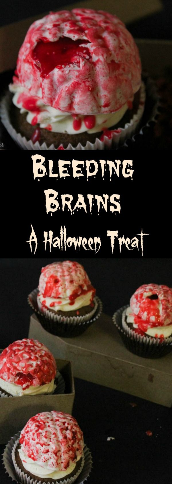 Halloween bleeding brain treats. Easy fast and bloody gross cupcake toppers you can use as vodka shots. #halloween#halloweentreats#bleedingbrains#halloweenfood#cupcaketoppers