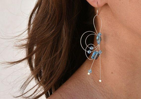 Long crystal earrings Sterling silver earrings by BeadABoo on Etsy
