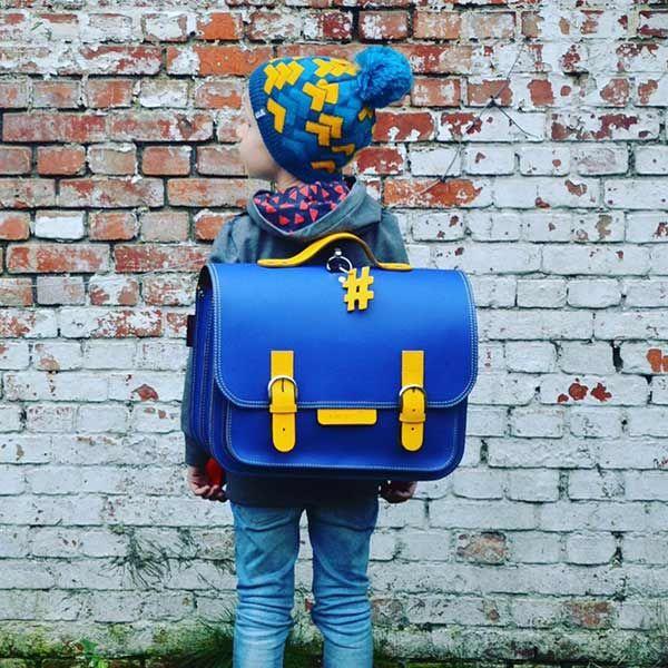Own Stuff lederen boekentas 38cm - cobalt blauw - geel
