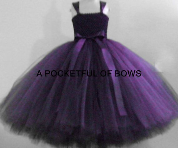 Plum Eggplant Flower Girl Dress Long Flower by APocketfulofBows