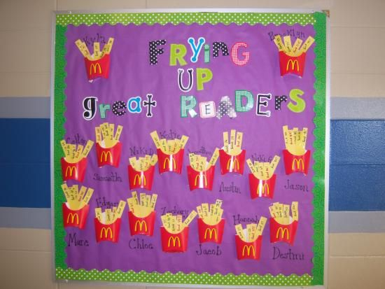 Bulletin board idea for getting students to read. Have students write the name of each book they read on a yellow piece of paper (french fry) and stick it into their container.