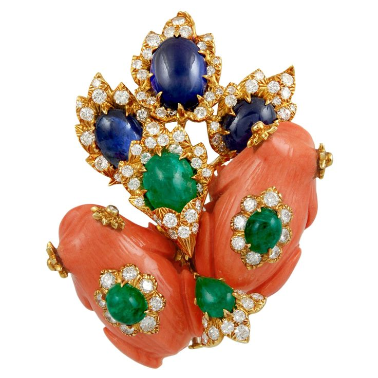 1stdibs - DAVID+WEBB+Two+Playful+Coral+Gem+Set+Frogs+Pin explore items from 1,700+ global dealers at 1stdibs.com