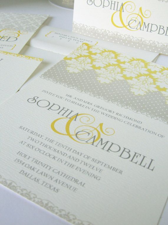 Gray and yellow wedding inviation, shabby chic wedding invitations, damask design on Etsy, $25.00