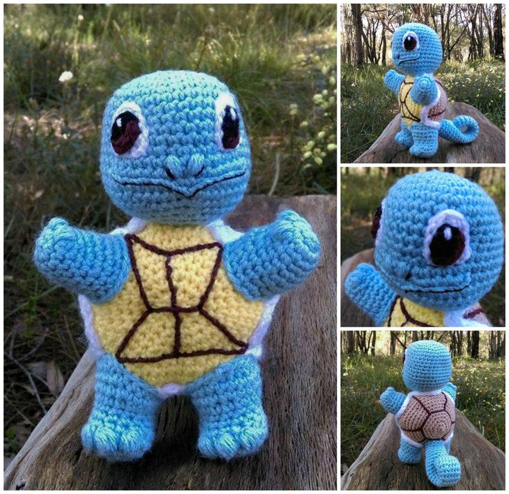 'Squirtle' - Pokémon...Collage.   Project information and pattern link here;   http://www.ravelry.com/projects/LindaDavie/baby-squirtle