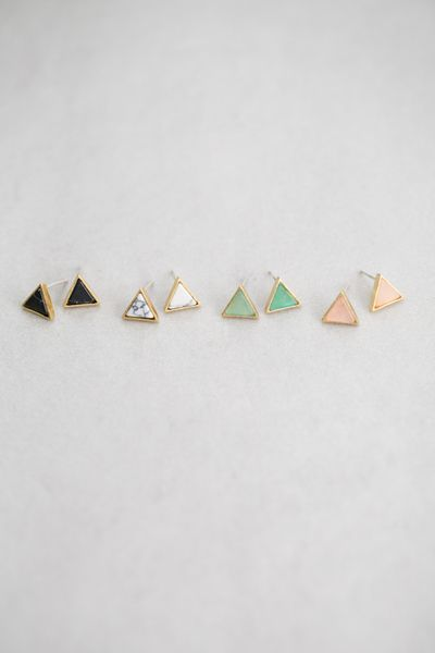Gold and colored stone triangle stone earrings.