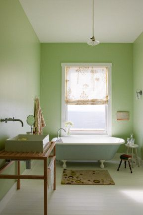 Let the past and present exist together. The bathroom of this Nova Scotia home contrasts a refinished antique tub with a contemporary Italian sink and current decoratve items such as the spotted floor mat.
