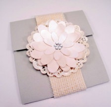 This Pink and Grey wedding invitaiton has a shabby chic look that can be repeated throughout your LDS reception.