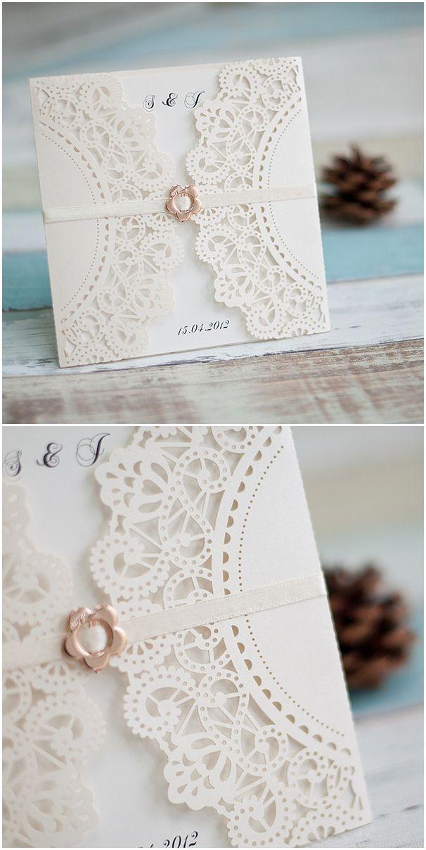delicate ivory laser cut elegant wedding invitations with ribbon and buckle #elegantweddinginvites