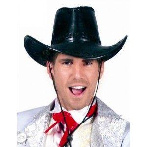 Chapeau cowboy noir imitation cuir homme, accessoire déguisement, fêtes.