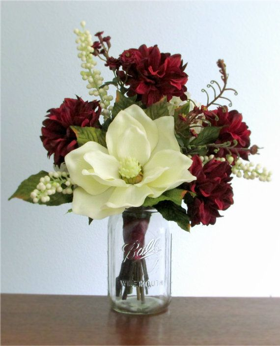 Burgundy red or rose pink and ivory silk flower