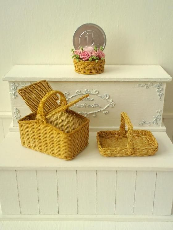 handmade Miniature basket dollhouse ミニチュア バスケット