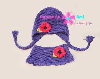 Caciula bleu cu mac guler asortat by Anamaria Ami crochet cowl poopy