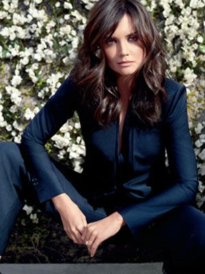 Katie Holmes - love this look of navys and dark chestnut hair