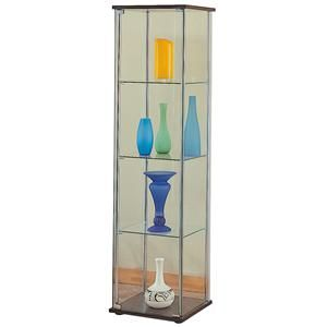 Curio Cabinets 4 Shelf Glass Curio Cabinet with Cappuccino Top & Bottom by Coaster - Just Like Home - Curio Cabinet