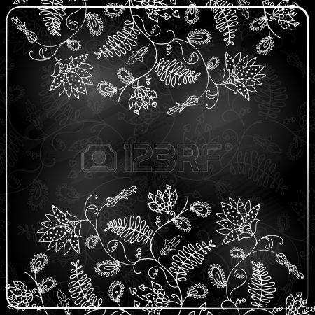Krijt Stijl Hand getekende bloemen Stockfoto