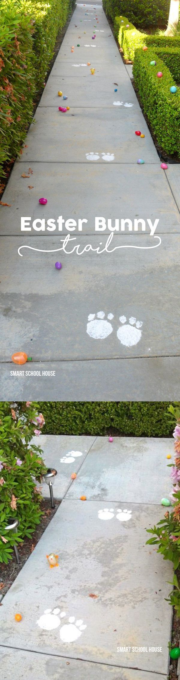 Easter Bunny Footprint Trail - using flour and and an aluminum pan! A fun idea for your egg hunt this spring.: