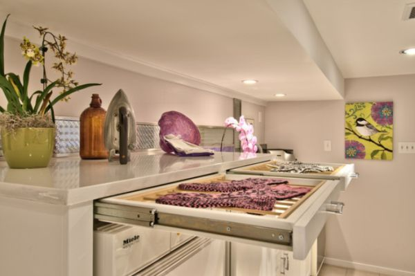 laundry-room, dry rack drawers so they are not always in the way/being bumped into and collapsing in on themselves!
