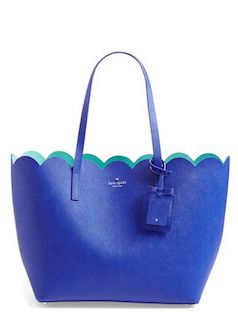 Kate Spade blue leather tote with scalloped edges