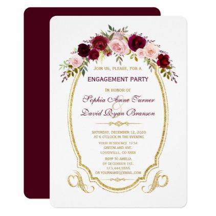 Charm Burgundy Marsala Floral Fall Engagement Card - rustic gifts ideas customize personalize