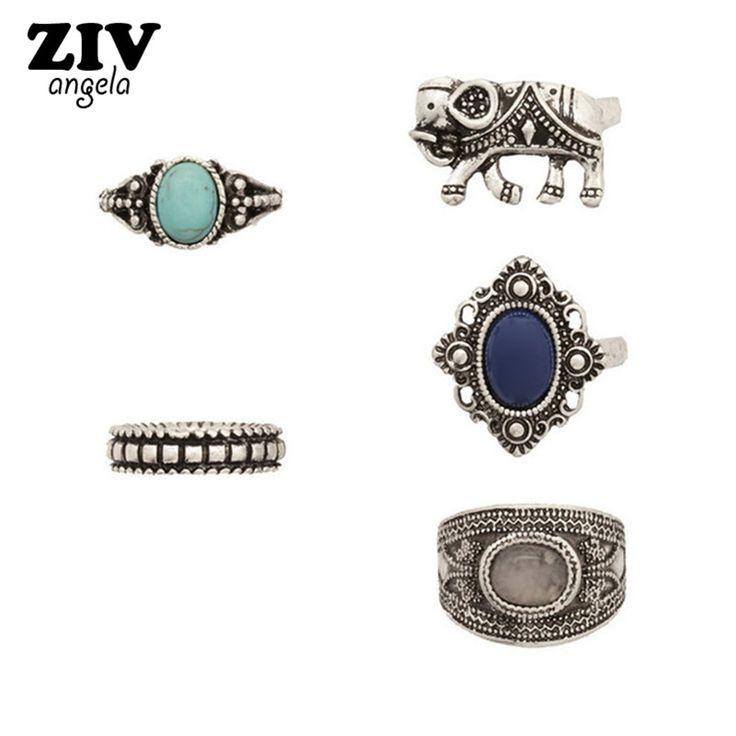 5PCS Bohemia Vintage Elephant Flower Rings Set Women Ethnic Antique Silver Plated Gem Stone Rings Women Fashion Jewelry