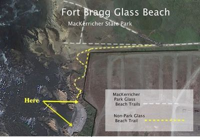 Use this map to leave MacKerricher Park and find lots of sea glass to take home. Fort Bragg Glass Beach, California Sea Glass Have you heard about Fort Bragg Glass Beach? Where is it? Can anyone collect sea glass there? Is there still