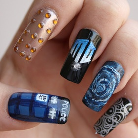 Best 25 doctor who nails ideas on pinterest the tardis the doctor who inspired nails nail polish thumb tardis index dalek middle doctor who logo ring time vortex pinky gallifreyan writings prinsesfo Gallery