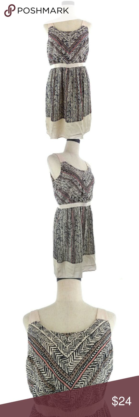 """Pale Pink Boho Dress Petite 6P Ann Tayloe Loft petite dress. Size 6P. Armpit to armpit is 17"""" across when flat. Shoulder to hem is 34"""". Waist is 14"""" across. 100% Rayon with polyester lining. Delicate pale pink with contrasting black and mauve  animal like print. Elastic type waist.  wd0636 Ann Taylor Loft Dresses Midi"""