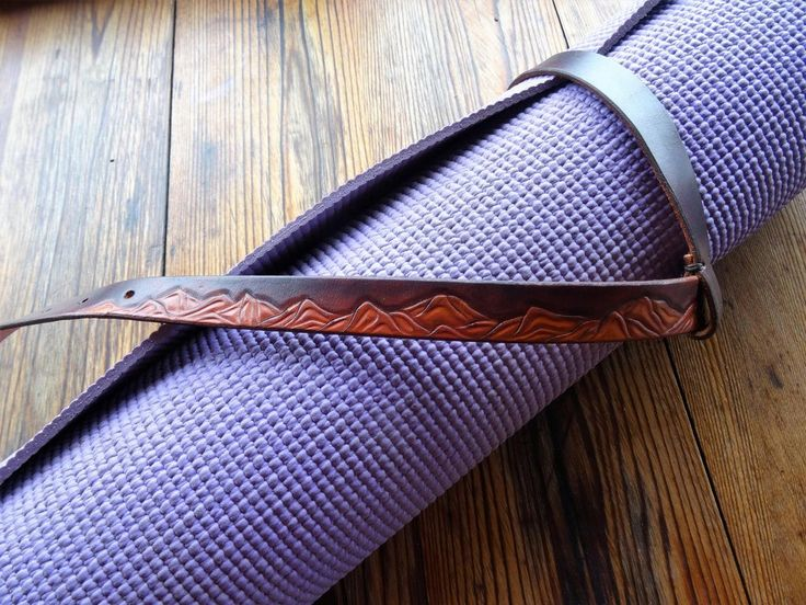 Yoga Mat Strap: Hand tooled Mountain design, one of a kind. Made in BC, Canada