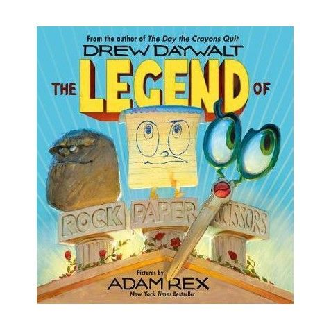 By the author of the crayon books.... Laugh out loud read aloud. The Legend of Rock, Paper, Scissors by Drew Daywalt.