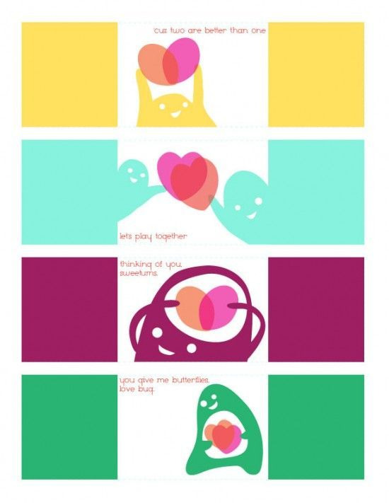 Free Download and Print Modern Fun Kids Valentine's Cards Downloadable from