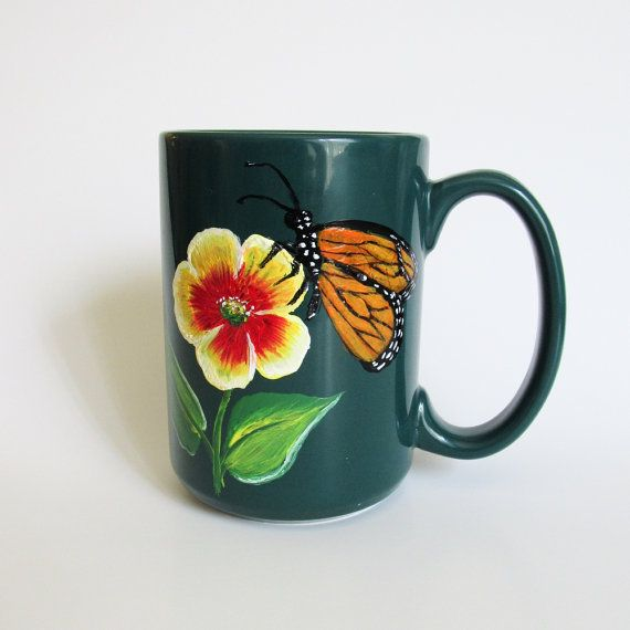 Beautiful Hand-painted Coffee Mug with Flower and Monarch Butterfly