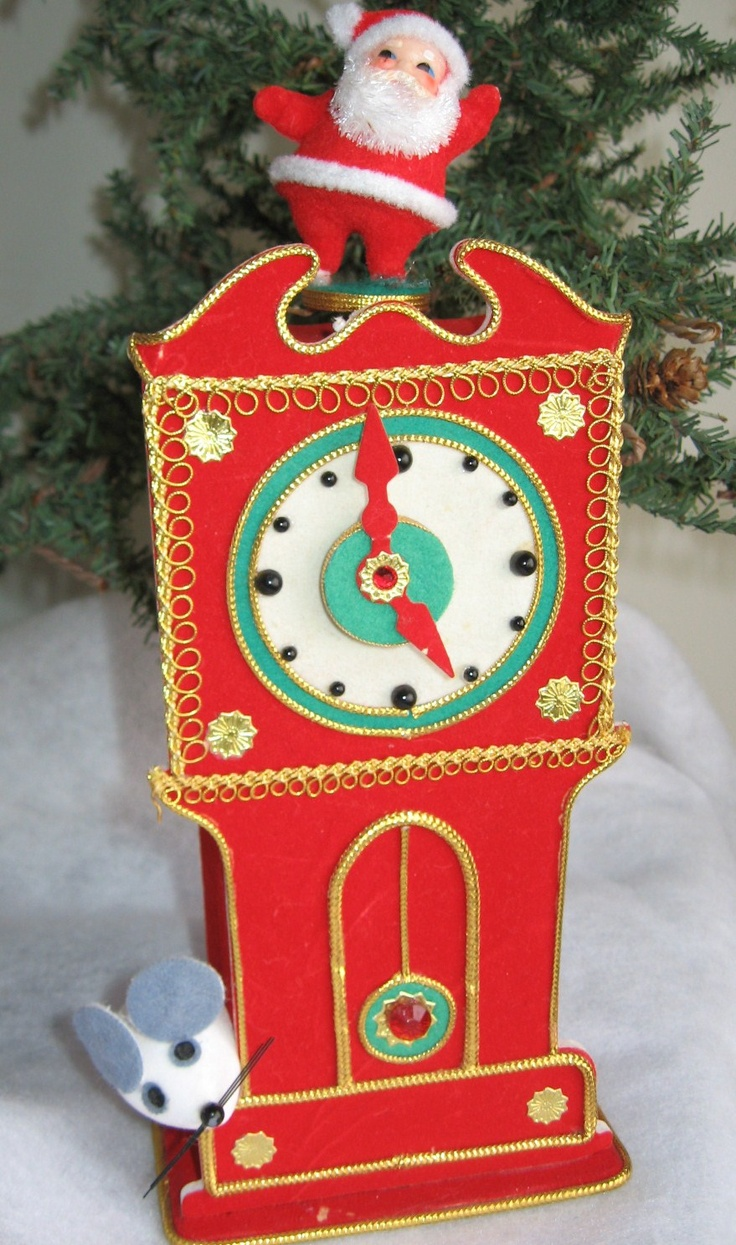 Musical 1960's Hickory Dickory Christmas Clock with Dancing Santa; Made In Japan