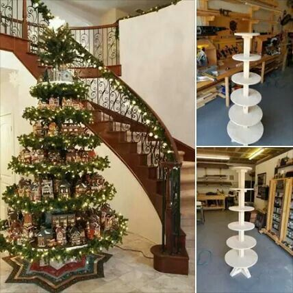 Here's a holiday project for a wooden Christmas tree village stand. Use your shop tools to create the size to accommodate your inspirational design. We can help you do this, come see us. http://www.woodcraft.com/Stores/Default.aspx PLANS FOR THIS ARE LOCATED HERE: https://drive.google.com/file/d/0B_3yy7Pb-oJ1YTRfLXZHVWpHM1E/view