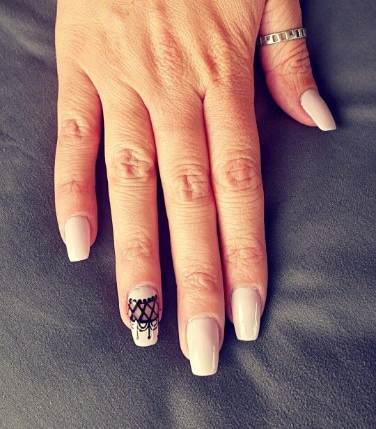 Negative spacing. Lace nail art on soft pink gel polish. Lexy of London gel polish