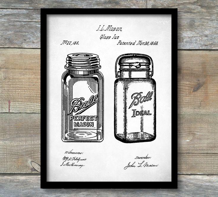 Patent Poster Kitchen Art Mason Jar Prints Decor Restaurant