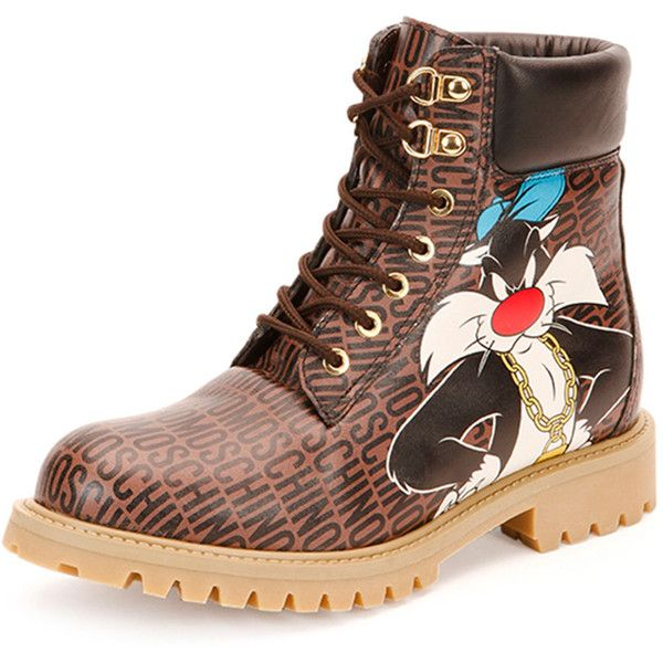 Moschino Looney Tunes Leather Hiking Boot ($795) ❤ liked on Polyvore featuring shoes, boots, real leather boots, flat boots, brown flat boots, round toe boots and hiking boots